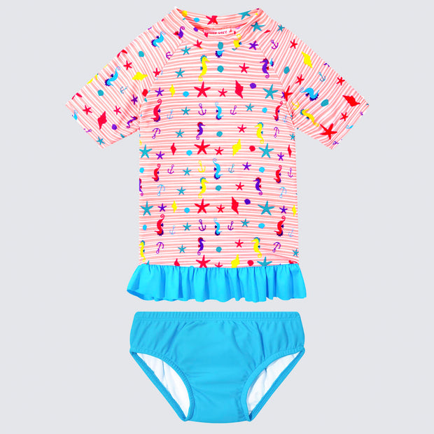Cupid Girl Beach Buddies Frill Rashie and Swim Nappy Set