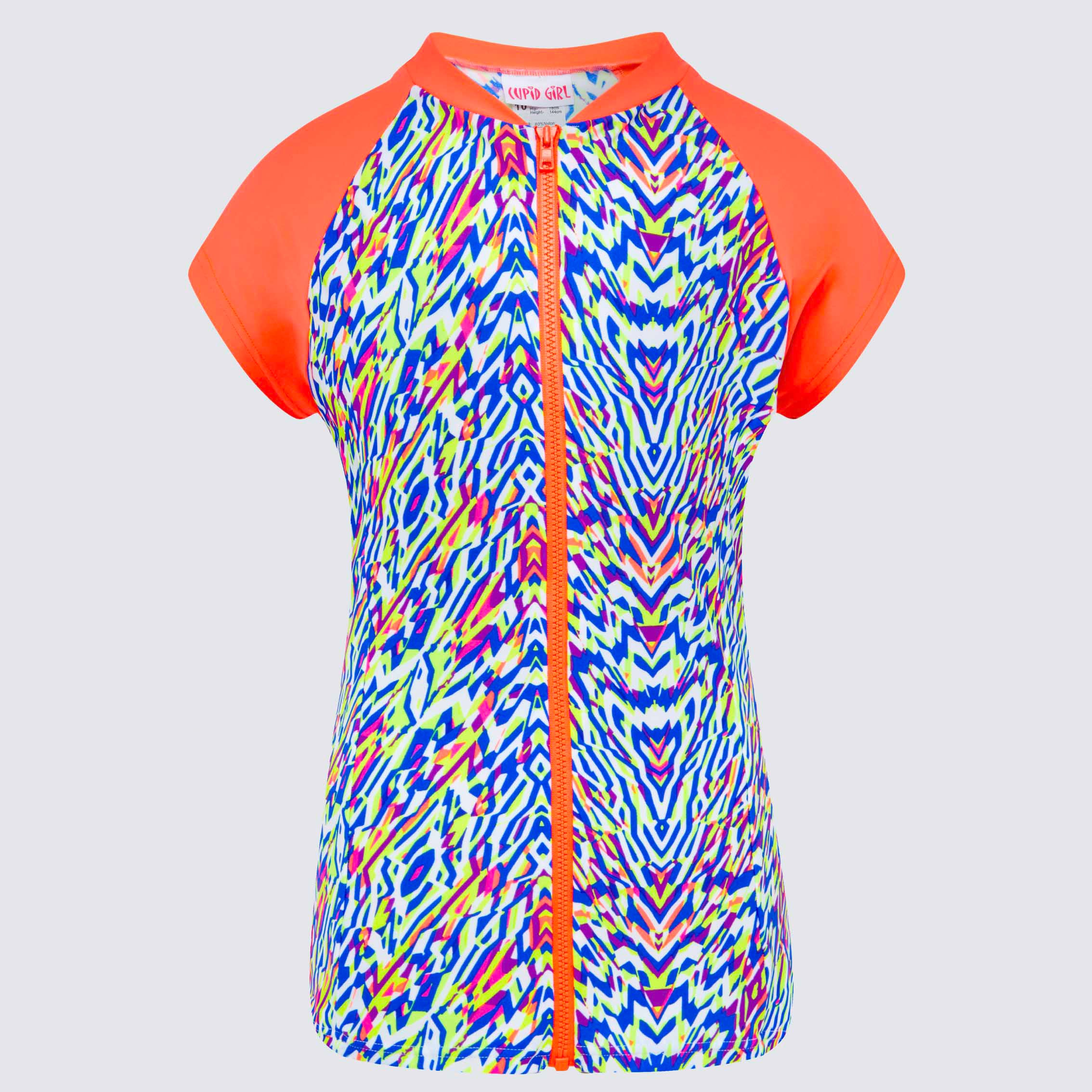 Cupid Girl Neon Tribe Short Sleeve Zip Rashie