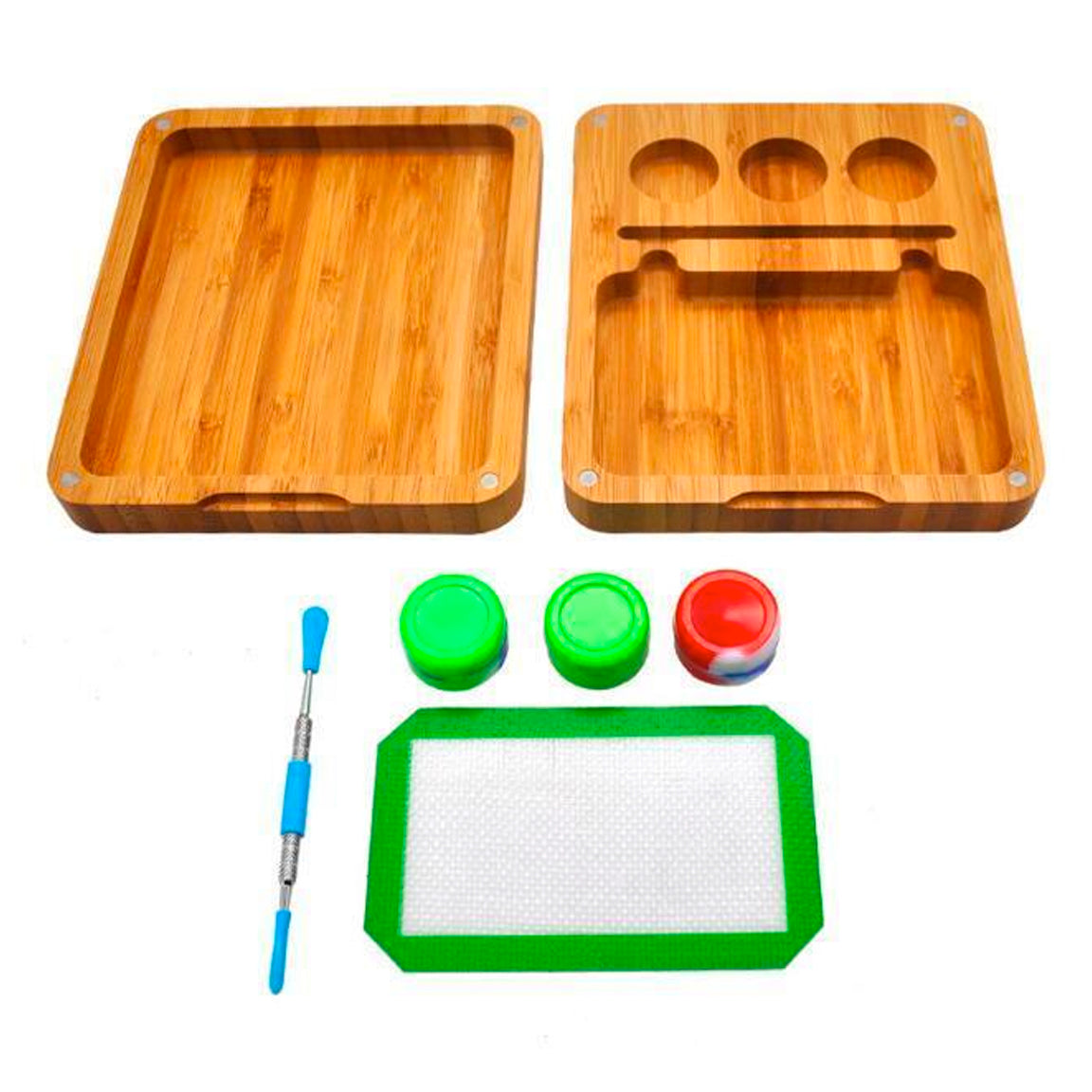 Natural Handmade Bamboo Dabs Storage Tray & Spoon Tool