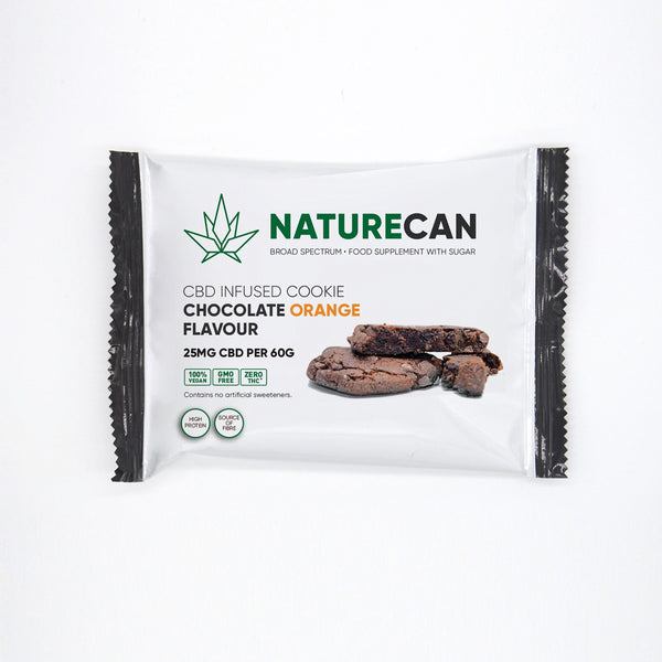 Naturecan CBD 25mg Infused Cookie 60g - Chocolate Orange or Double Chocolate