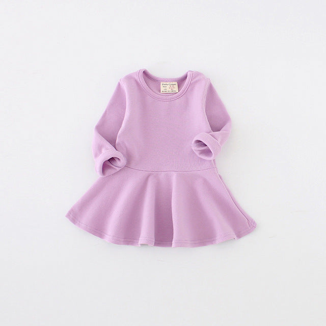 Casual Style Pure Cotton Falbala long-sleeved dress candy color