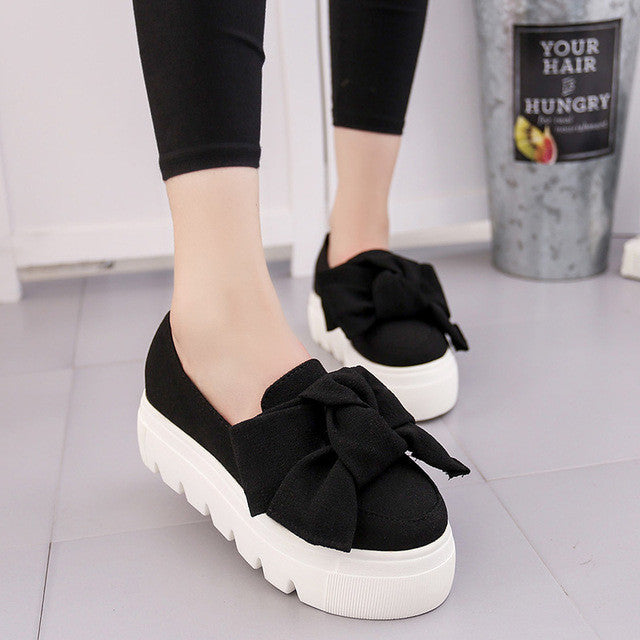 Fashion Creepers Shoes  Bow  Flats Loafers Slip On