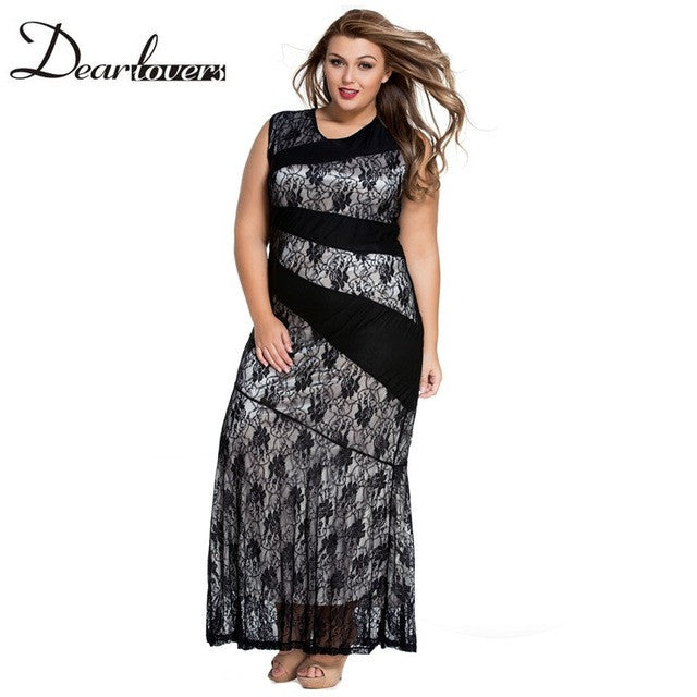 Blue Lace Sleeveless Patchwork Summer Mermaid Dress  Plus Size Maxi Dresses