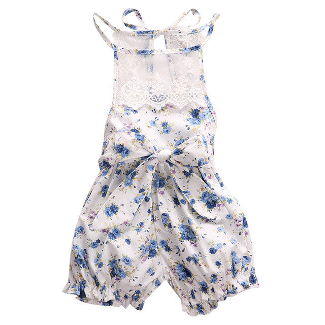 Sleeveless Lace Floral Romper For Baby Girls  0-18M