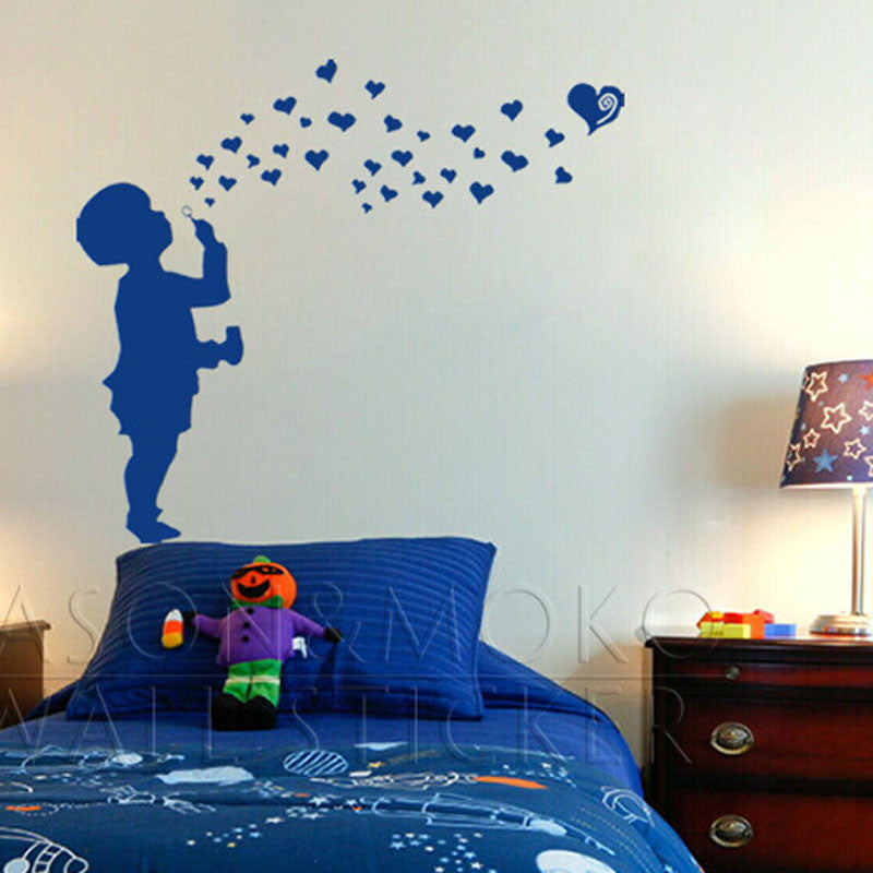 Boy Blowing Hearts Love Bubbles  Decal Sticker