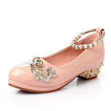 Girls Formal Leather Shoes with Pearls Anklet Brand