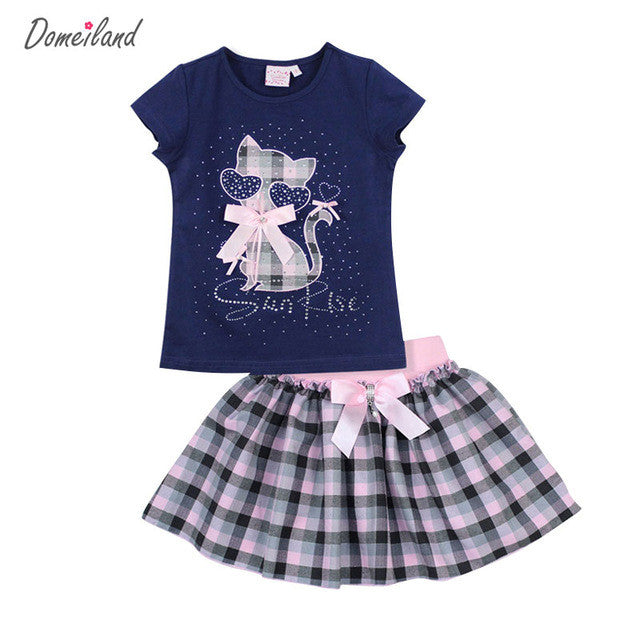 Girl Outfits Cat Pattern Short Sleeve Cotton Tops Bow Skirt Suits
