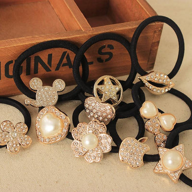 15 Kinds Elastic Hair Bands  Crystal Simulated Pearl Flower Star Bow
