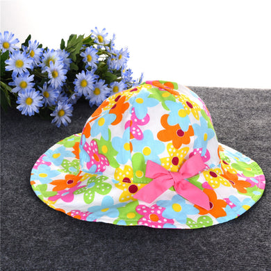 Kids Broadside Sun Hat with Flower Pattern & Bowknot