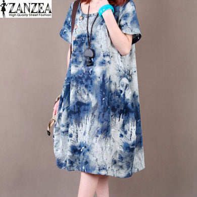 ZANZEA Plus Size M-5XL  Women  Short Sleeve Floral Printed Tunic