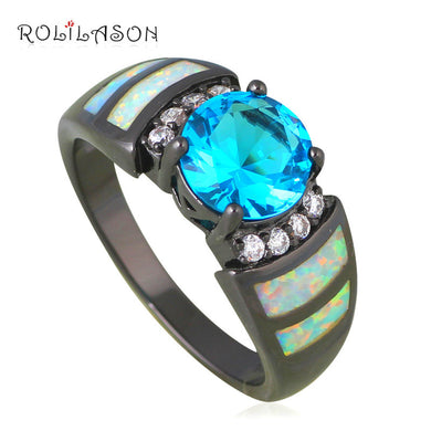 Rings For Teen Girls Charming Blue Zircon White Fire Opal Gold Tone