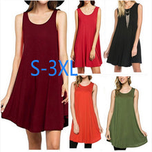 Tank Dress  Solid Color Sleeveless  Sundress Plus Size