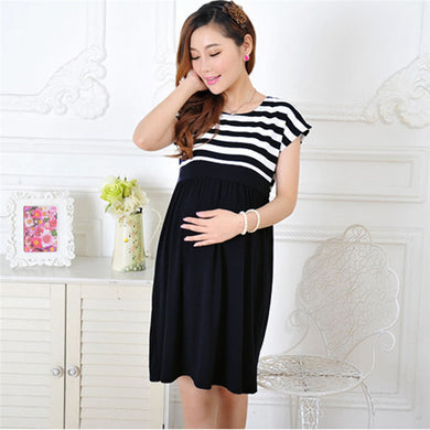 Maternity Dresses Loose  Stripe Casual