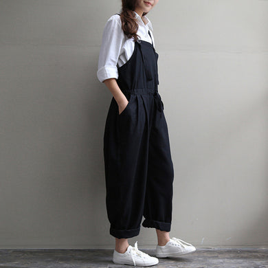 Maternity Plus Size   Loose Cotton Bib Pants