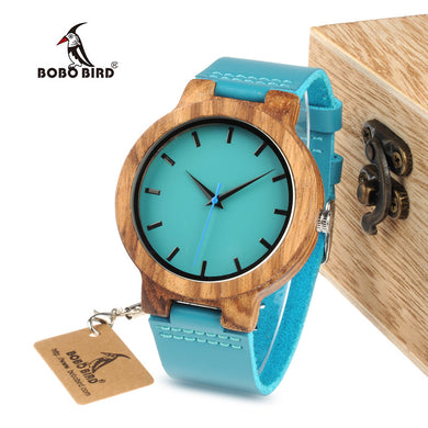BOBO BIRD  Mens Blue Leather Band Wood Watches With Blue Anlaogue DisplayWatches in Gift Box