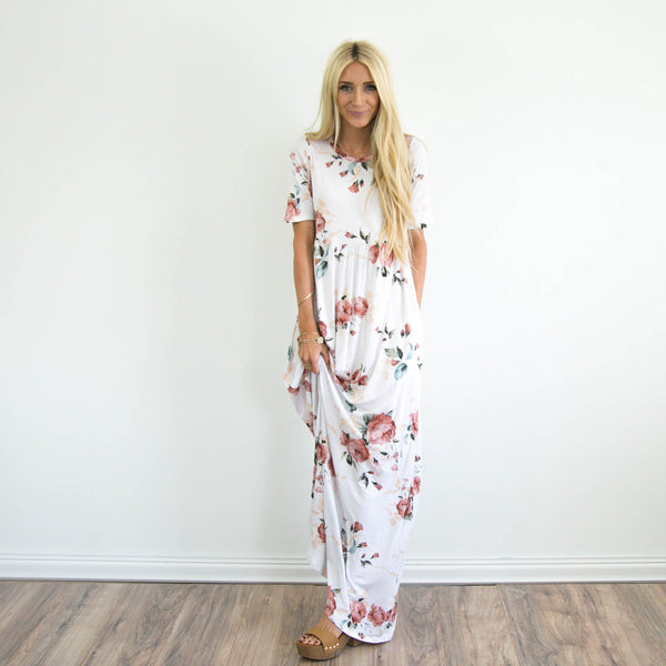 S & Co. Mika Floral Maxi in Ivory