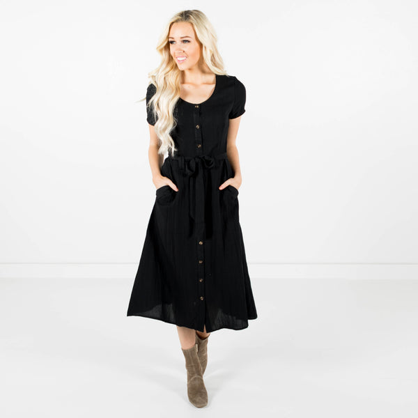 Tess Button Up Dress in Black