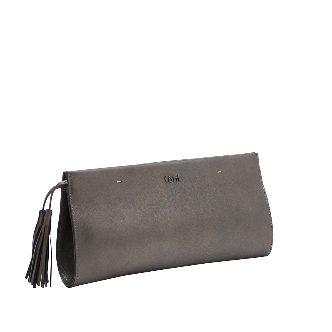 CH 0005 - TOHL DEMI WOMEN'S TASSELLED GRIP CLUTCH - METALLIC SMOKE