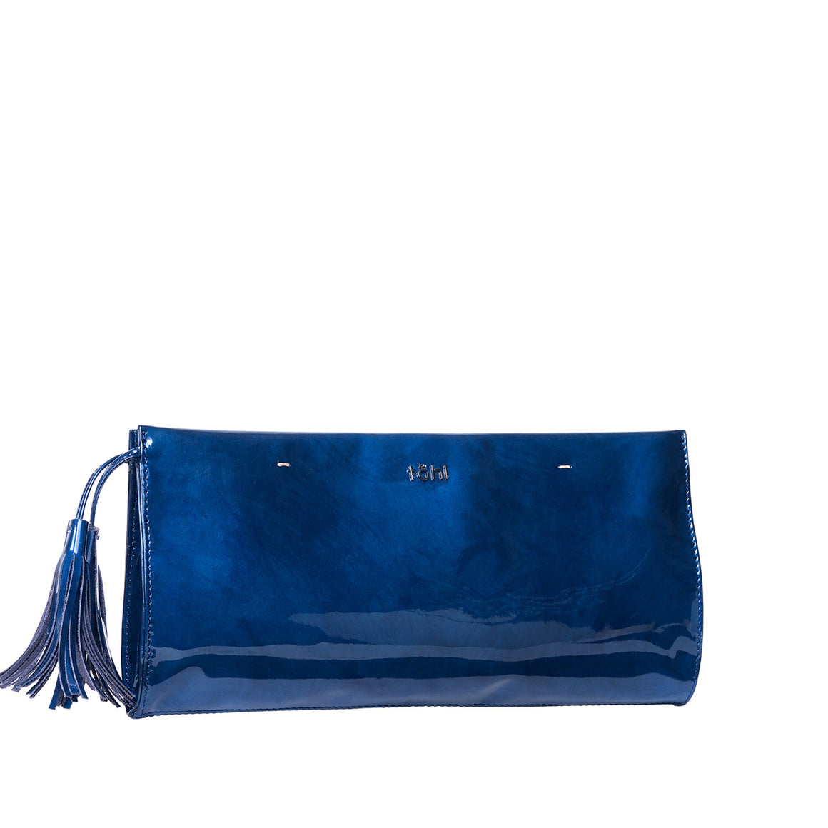 CH 0005 - TOHL DEMI WOMEN'S TASSELLED GRIP CLUTCH - PATENT NAVY