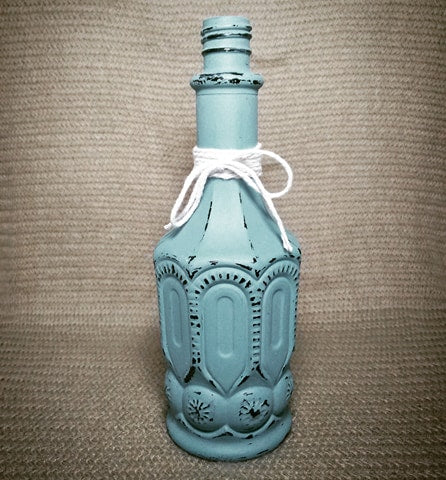 Distressed Hand Painted Teal Bottle - Vintage Inspired Life