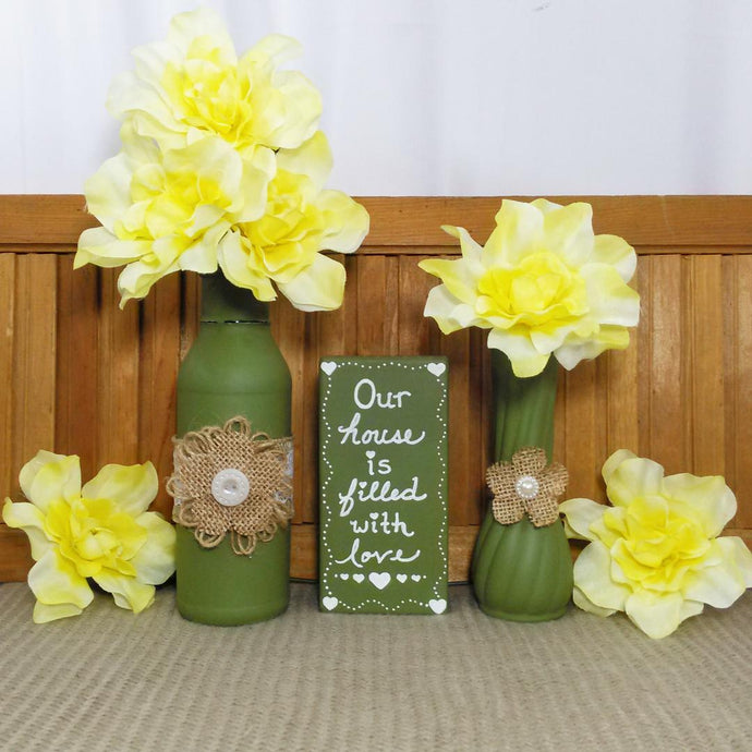 Green Moss Colored Flower Vases With Burlap Flowers - Vintage Inspired Life