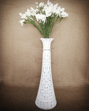 Distressed Hand Painted White Flower Vase - Vintage Inspired Life