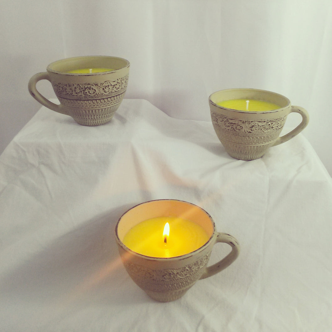 Sea Salt And Orchid Soy Teacup Candle - Vintage Inspired Life