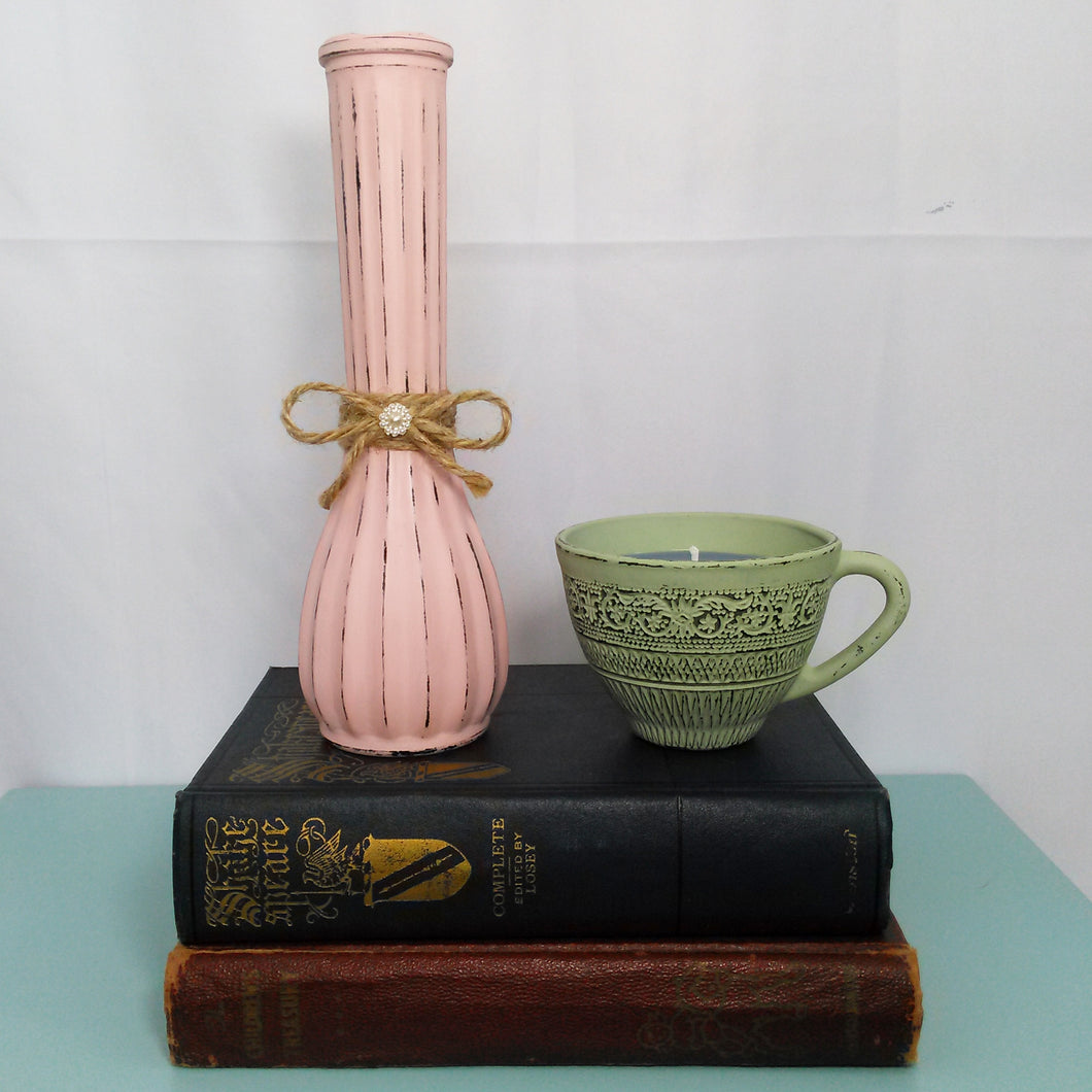 Distressed Pink Flower Vase With Bow - Vintage Inspired Life
