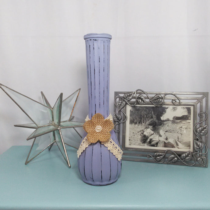 Distressed Lavender Flower Vase With Lace & Flower Detail - Vintage Inspired Life