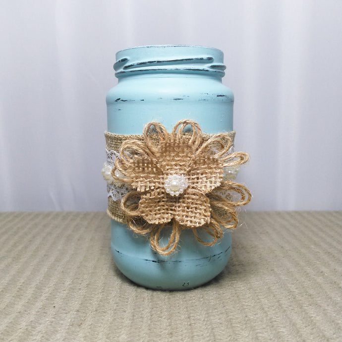 Small Distressed Blue Shabby Chic Jar With Flower - Vintage Inspired Life
