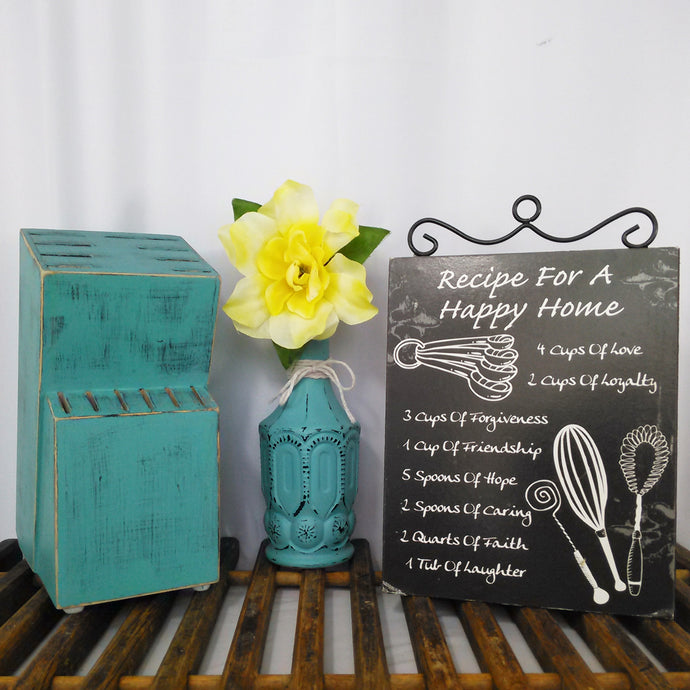 Distressed Painted Knife Block In Teal - Vintage Inspired Life