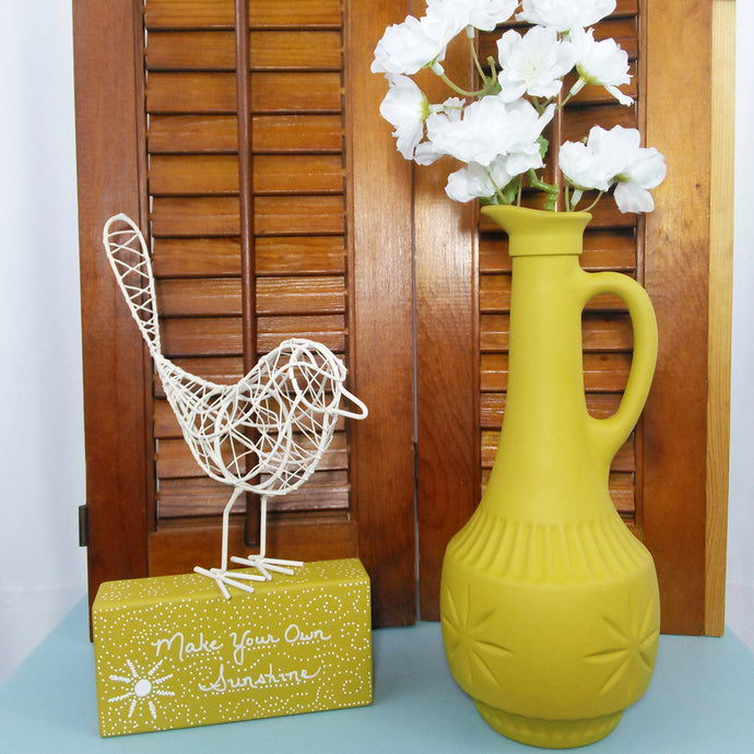 Mustard Painted Retro Style Yellow Glass Vase - Vintage Inspired Life