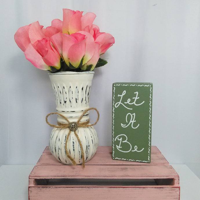 Distressed Off White Vase With Bow & Button - Vintage Inspired Life