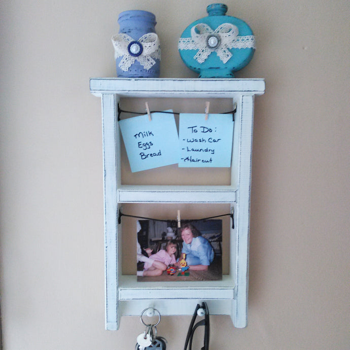 Distressed Ivory Multi Purpose Shelf - Vintage Inspired Life
