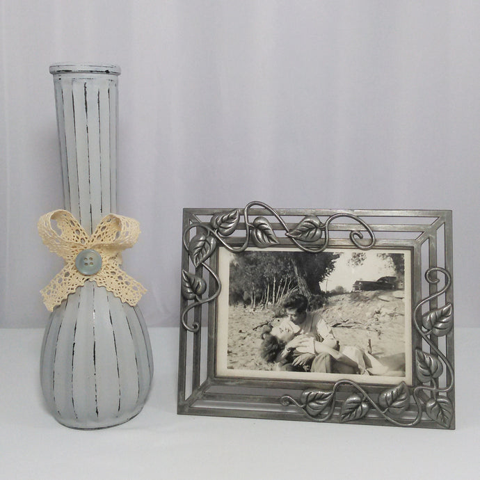 Distressed Gray Flower Vase With A Lace Bow & Button - Vintage Inspired Life