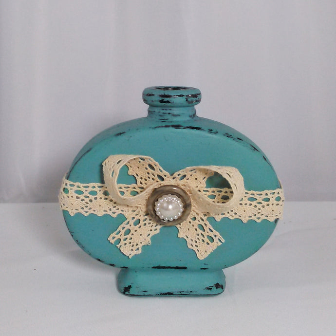 Small Distressed Teal Bottle With Lace - Vintage Inspired Life
