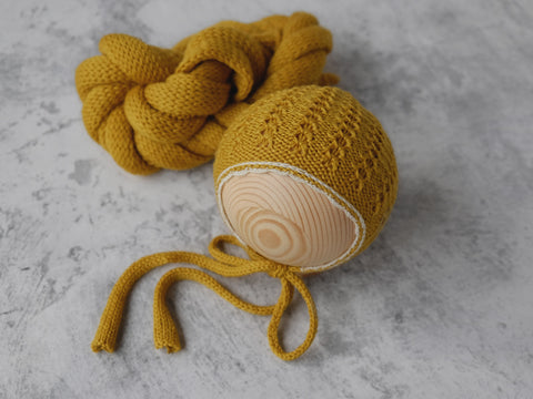 RTS 'GRACE' bonnet and wrap set - MUSTARD