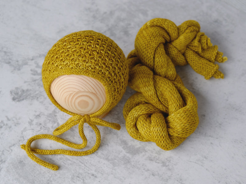 RTS 'RIVER' bonnet and wrap set - YELLOW OCHRE (*LIMITED EDITION)