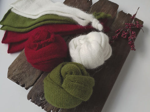 RTS NEWBORN SLEEP CAP AND WRAP SET - CHRISTMAS COLOURS