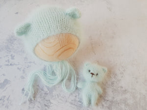 Teddy bear newborn bonnet/bonnet and cuddle bear set  **MADE TO ORDER**