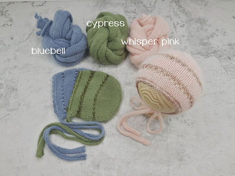 RTS 'HAZEL' bonnet and wrap set