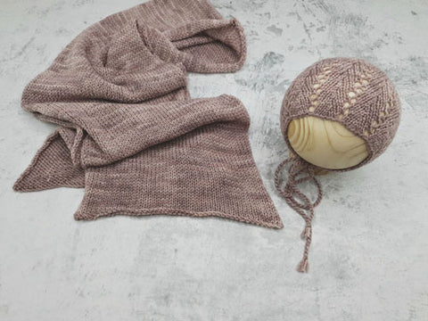 RTS 'Celine' bonnet and wrap set - Dusty purple (*Limited Edition*)