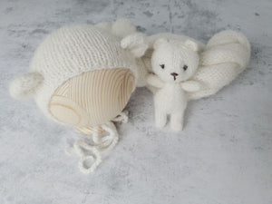 'FRANKIE' bear bonnet, wrap and cuddle buddy set