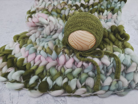RTS Signature handspun merino layer and bonnet set - CABBAGE PATCH
