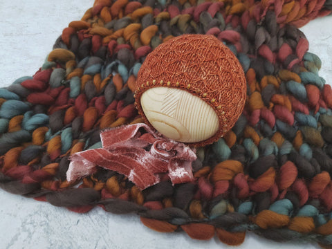 RTS Signature handspun merino layer and bonnet set - BONFIRES