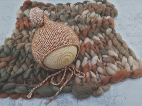 Signature handspun merino layer and bonnet set - TOFFEE **MADE TO ORDER*