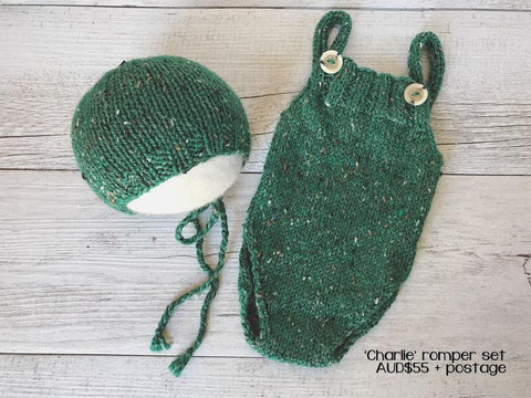 RTS 'CHARLIE' Bonnet and Romper Set