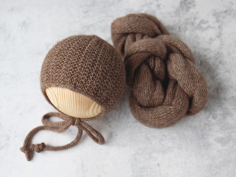 RTS 'OWEN' newborn bonnet and wrap set - ESPRESSO