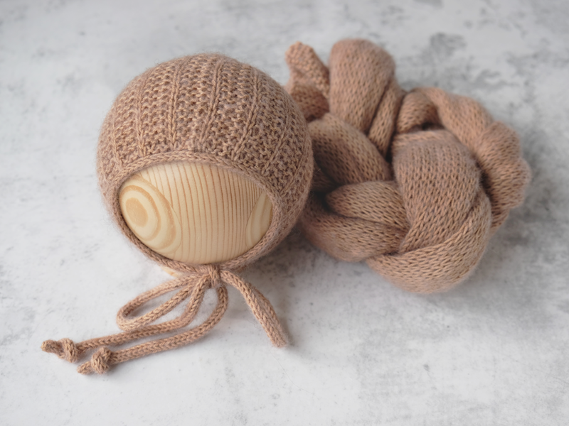 RTS 'OWEN' newborn bonnet and wrap set - CAMEL