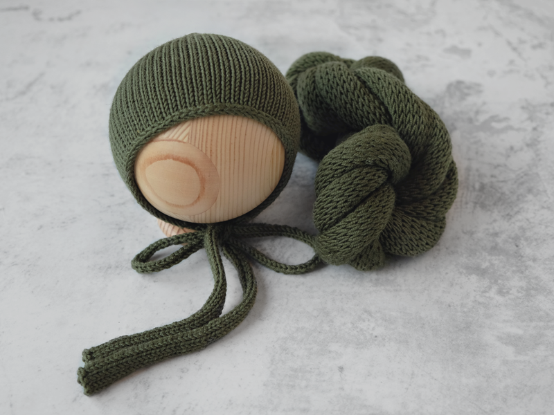 RTS Snug bonnet and wrap set - OLIVE TWIST